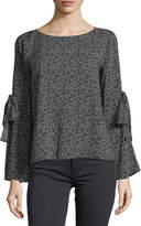 Velvet Round-Neck Printed Challis Top