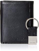Calvin Klein Men's Pebble Leather Slim Trifold Wallet and Key Fob Set