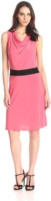 Star Vixen Women's Sleeveless Bar-Back Colorblock Skater Dress