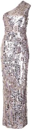 Rachel Gilbert Hunter one-shoulder gown