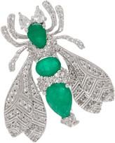 5.00 cttw Emerald & White Zircon Bee Pin, Sterling