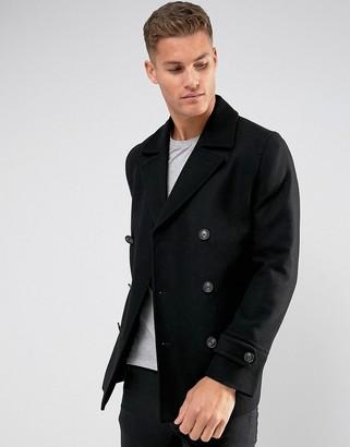 Asos DESIGN wool mix peacoat in black