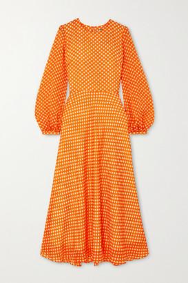 Paul & Joe Festia Polka-dot Silk Crepe De Chine Midi Dress - Orange