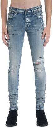 Amiri Hand Painted Slit Knee Denim Jeans