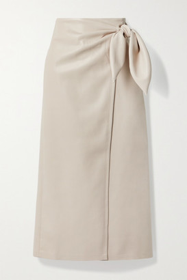 Nanushka Amas Vegan Leather Wrap Skirt - Cream
