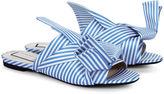 No.21 Blue & White Stripe Satin Bow Slides