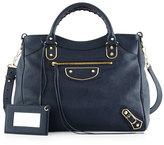 Balenciaga Metallic Edge Golden Velo AJ Bag, Royal Blue