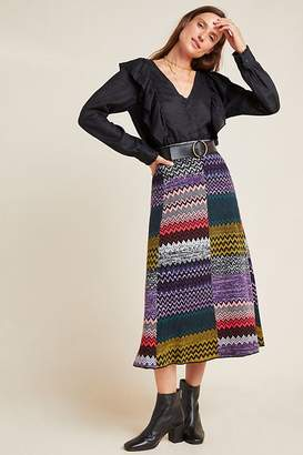 Geisha Designs Patchwork Knit Midi Skirt