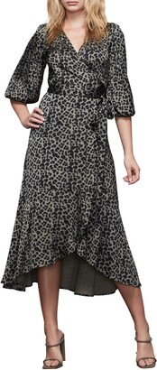 Good American The Wrap Body Leopard Print Midi Dress