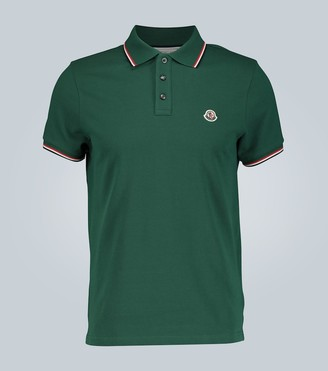 Moncler Contrast trimmed cotton polo shirt