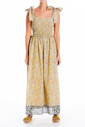 Max Studio Floral Smocked Tie Strap Maxi Dress