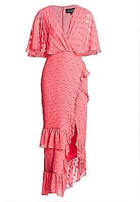 Saloni Women's Rose Polka Dot Ruffled Midi Dress