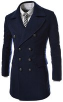 OCHENTA Mens Casual Regular Fit Classic Wool Double Breasted Pea Coat