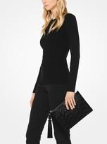 Michael Kors Loren Woven Leather Pouch