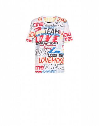 Love Moschino Racing Logo Jersey T-shirt Woman Multicoloured Size 38 It - (4 Us)