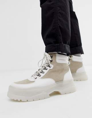 Asos Design DESIGN lace up boots in white with white chunky sole