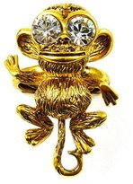 Kenneth Jay Lane Crystal and Antique Gold Plated Monkey Ring