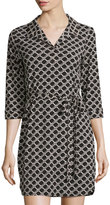 Neiman Marcus Honeycomb-Print 3/4-Sleeve Dress, Black/White