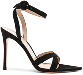 Gianvito Rossi Suede Alixia Ankle Strap Sandals in Black | FWRD