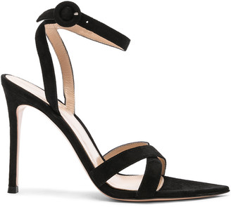 Gianvito Rossi Suede Alixia Ankle Strap Sandals in Black | FWRD