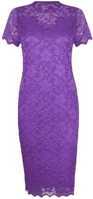 None New Womens Plus Size Lace Lined Bodycon Short Sleeve Ladies Bodycon Midi Dress (UK 22/24