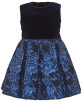 Oscar de la Renta Navy Jacquard and Velvet Party Dress