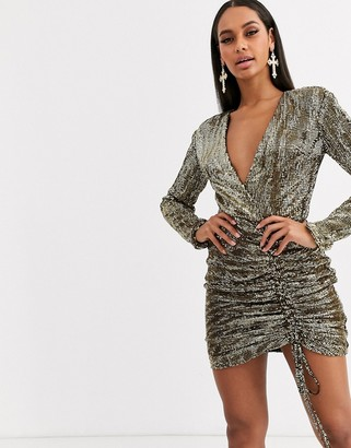 Club L London sequin plunge front ruched mini bodycon dress in gold