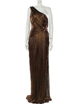 Maria Lucia Hohan One-Shoulder Long Dress Brown