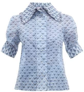 Thierry Colson Tilda Geometric-print Cotton-blend Blouse - Womens - Blue