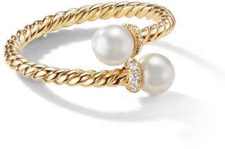 David Yurman Petite Solari Bypass Ring with Cultured Pearl & Diamonds in 18K Yellow Gold