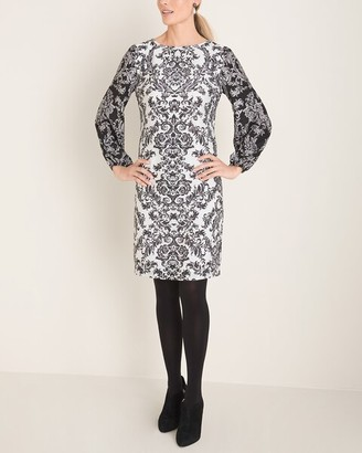 Chico's Black and White Printed Balloon-Sleeve Dress