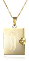 Soixante Neuf Engraved Locket Book Necklace, Gold