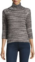 Three Dots Turtleneck Tweed-Knit Sweater