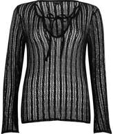 River Island Womens Black open mesh lace-up front top