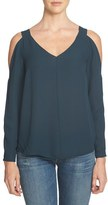 1 STATE Women's 1.state V-Neck Crepe Cold Shoulder Top