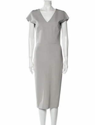 Victoria Beckham V-Neck Midi Length Dress Grey