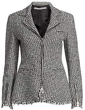 Alexander Wang Women's Tweed Moto Zip Jacket