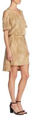 Halston Cold-Shoulder Wrap Midi Dress