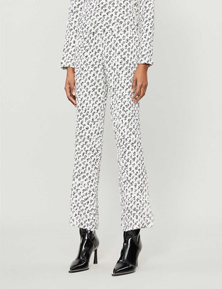 Saks Potts Fiesta graphic-print high-rise woven trousers