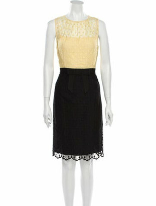 Milly Lace Pattern Knee-Length Dress w/ Tags Yellow