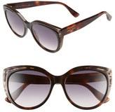 Jimmy Choo Women's 'Nicky' 56Mm Cat Eye Sunglasses - Animal Black