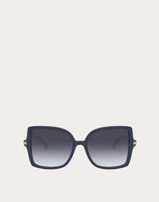 Valentino Squared Acetate Frame With Studs Women Black/gradient Black Acetate 100% OneSize