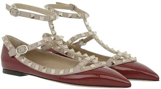 Valentino Rockstud Burgundy Patent leather Ballet flats