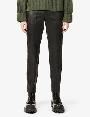 Sprwmn Straight-leg high-rise leather trousers