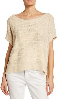 Eileen Fisher Plus Size Tape-Knit Organic Cotton Sweater