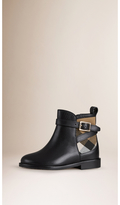 Burberry House Check Panel Leather Ankle Boots