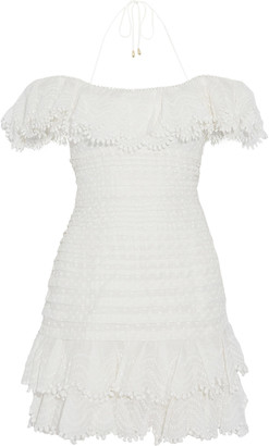 Zimmermann Super Eight Off-the-shoulder Embroidered Linen And Silk-blend Mini Dress