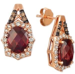 LeVian Le Vian Rhodolite Garnet (4 ct. t.w.) & Diamond (5/8 ct. t.w.) Stud Earrings in 14k Rose Gold