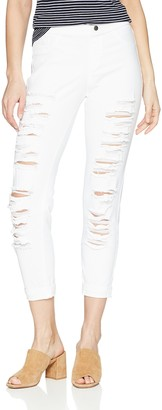 Hue Women's Ripped Cuffed Denim Skimmer Leggings