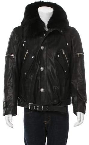 Balmain Leather Fur-Trimmed Jacket